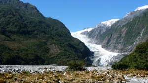 In the middle of the Tropical Forest, Franz Joseph Glacier in New Zealand