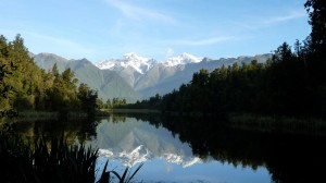 Reflection of the Mount Cook in the Lake Matheson - 1, New Zealand