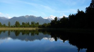 Reflection of the Mount Cook in the Lake Matheson - 2, New Zealand