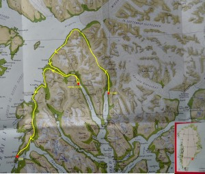 Hiking map, itinerary of the expedition in Greenland