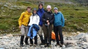 The expedition team, from left to right : CaYuS, Tsuyako, Peter, Kathrin and Emilie