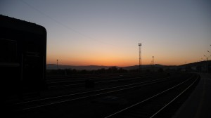Sunset on the train station