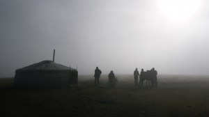 Mongolian ger into the fog