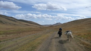 Horse riding in the steppes... with a route