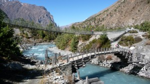 Bridges over Marsyangdi River, Annapurna, Nepal