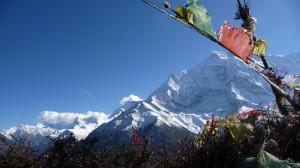 Mountains and Prayer flags, Annapurna, Nepal