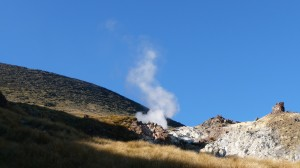 Smoke, hot springs, Tongariro Alpine Crossing, New Zealand