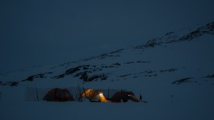 Tents by night, Greenland