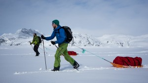 Dave and Mariano, Nordic Skiing with pulks, Greenland