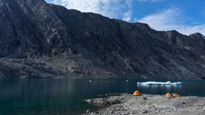 Basecamp in the fjord with icebergs, Greenland