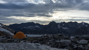 Bivy spot, advanced camp in the mountains, Greenland
