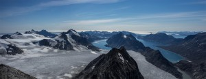 View from the summit, mountains, fjord and ocean, Greenland