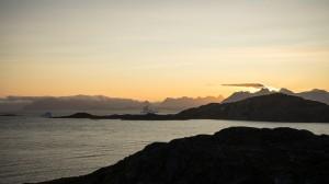 Sunset on the ocean of icebergs, Kulusuk, Greenland